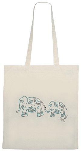 Zest, shopping bag in tela, con elefanti, mandala