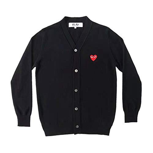 daki Comme des Garcons CDG Play Cardigan V Neck Embroidered Wool Winter Sweater Women by daki