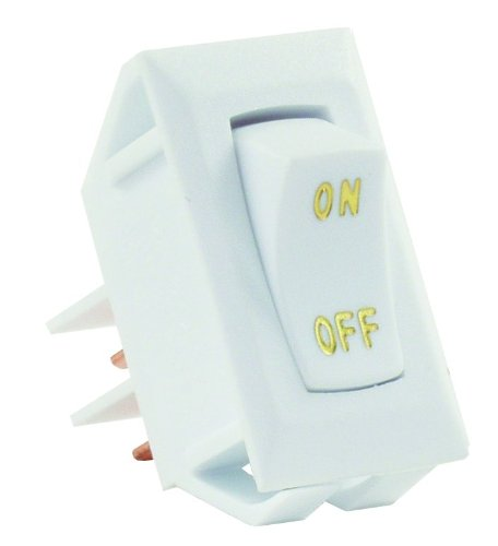 JR Products 12585 White SPST Labeled On/Off Switch