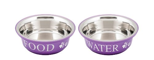 (Buddy's Line Non-Skid Stainless Steel Fusion Food/Water Serving Pet Bowls)