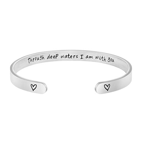 Joycuff Bracelets Jewelry for Teen Girls Silver Cuff Bangle Birthday Gift for Graduation Personalized Through Deep Water I am with You