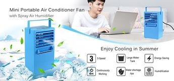 chanys Madoats Mini Portable Air Conditioner Fan, 9.5-inch Small Desktop Fan Quiet Personal Table Fan Mini Evaporative Air Circulator Cooler Humidifier,blue