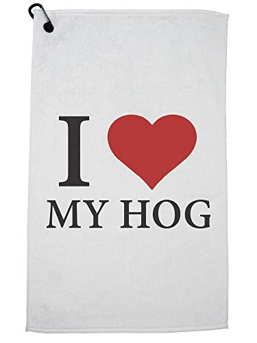 - Hollywood Thread I Love My Hog Red Heart Motorcycle Biker Pride Golf Towel with Carabiner Clip
