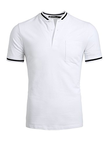 Allegra K Men Half Placket Buttoned Chest Pocket Short Sleeves T-shirt White (Buttoned Placket)