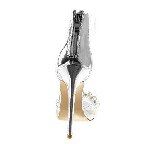 Cheville Sandale Transparent 13 Argent Haut cm Femme Bijoux Peep Mode Angkorly Aiguille Toe Escarpin Chaussure Lanière Strass Talon Stiletto Diamant qfFwFY
