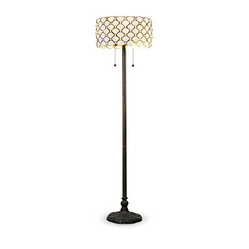 Serena D'italia Tiffany Style White Contemporary Floor Lamp, Diamond Pattern Stained Glass Lamp with Jewels, Standing Lamp, Double Pull Chain (White)