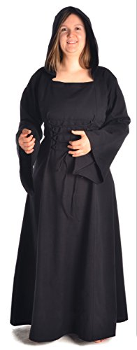 blau Mittelalter grün S Kleid Gugel weiß HEMAD zum XL schwarz braun Schnüren Damen rot mit Schwarz wpvzax5Bq