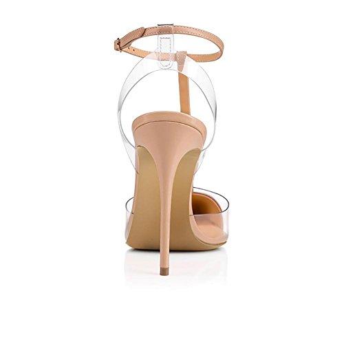Zhang8 Sandalias Tachonado Color Altos Nude Puntiaguda nudecolor 38 Transparente Tamaño Estiletes Punta Zapatillas Zapatos De Vestir Mujer Tacones Los Pvc rqprv
