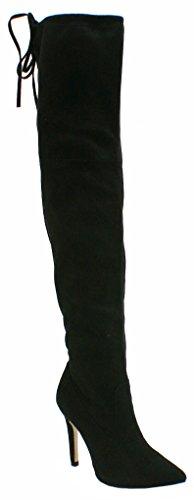 SHU CRAZY Womens Ladies Faux Suede Over The Knee Thigh High Stiletto Heel Drawstring Stretch Fashion Boots - U23 Black Suede PiJt3Tab