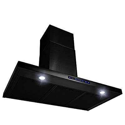 "AKDY 36"" Wall Mount Brushed Black Stainless Steel Touch Panel Kitchen Range Hood Cooking Fan"