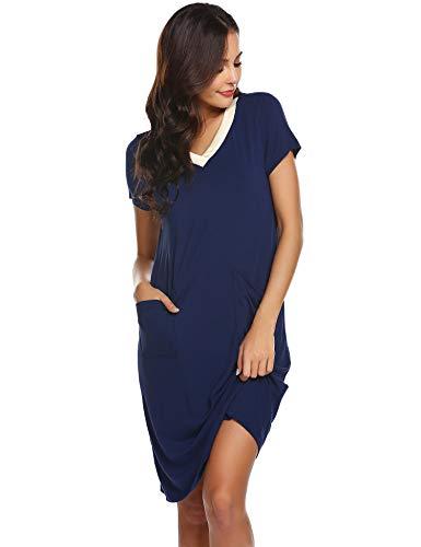Ekouaer Womens Sleep Shirts Patchwork V Neck Nightgown Short Sleeves Loose Cotton Nightshirt(Navy Blue XL)