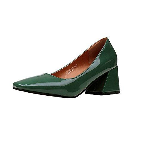 cómodo tacón zapatos green con gruesos cuadrada shoes Cabeza de alto minimalista solo wild luz CXSM gwvAqCF
