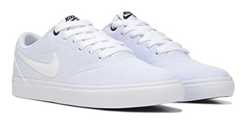 NIKE Women's SB Check Solarsoft Canvas Premium Skateboarding Shoe (7.5 B US, White)