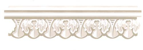 (Scalloped Molding Wall Stencil SKU #3444 by Designer Stencils)