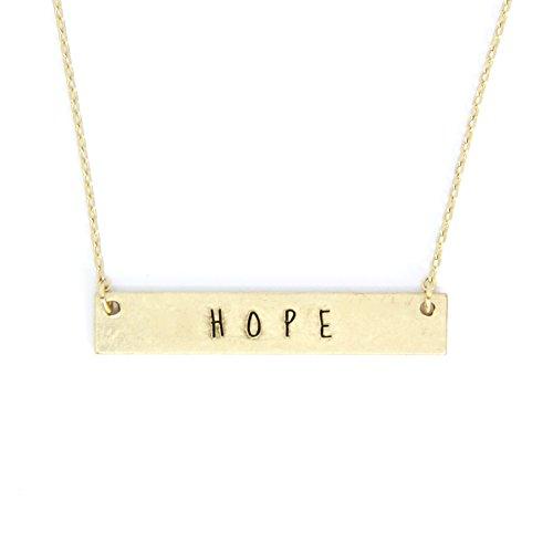 Me Plus Inspirational Horizontal Engraved Bar Pendant Necklace Hope