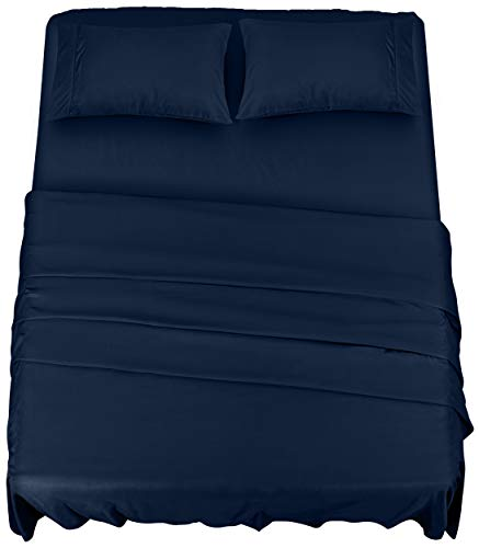 Utopia Bedding Bed Sheet Set - 4 Piece Cal King Bedding - Soft Brushed Microfiber Fabric - Wrinkle, Shrinkage & Fade Resistant - Easy Care (Cal King, Navy)