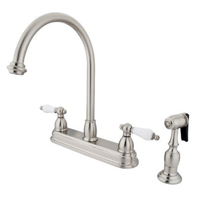 UPC 663370089282, Restoration Deck Mount Double Handle Centerset Kitchen Faucet with Porcelain Lever Handles and Side Spray Finish: Satin Nickel