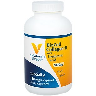 The Vitamin Shoppe Biocell Collagen II with Hyaluronic Acid 1000mg, Supports Skin and Joint Health, Promotes Joint Comfort and Stimulates Cartilage Producing Cells (180 Vegetable Capsules)