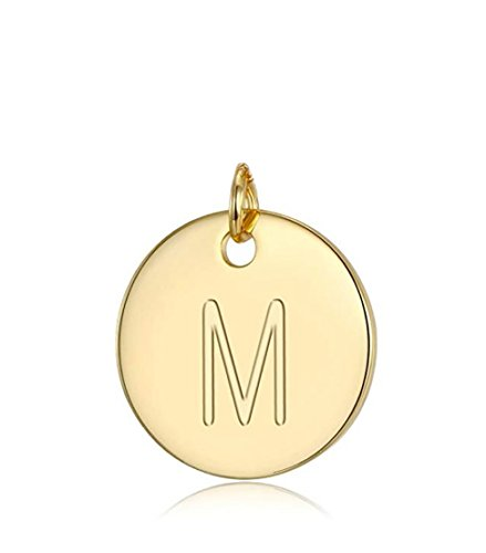 1pc Sterling Silver Initial Disc Initial M Charm Letter M Pendant Personalize Your Jewelry Gift | Gold Tone Silver Pendant SLP1-13