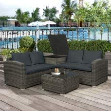 Anivia 4-Piece Outdoor Rattan Patio Wicker Sectional Set with Storage Box, Tempered Glass Table Top