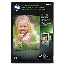 HP Everyday Photo Paper, 4in. x 6in., Glossy, 53 Lb, Pack Of 100 Sheets