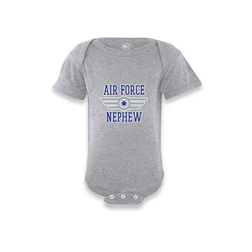 - Cute Rascals Air Force Nephew Short Sleeve Envelope Neck Boys-Girls Cotton Baby Bodysuit One Piece - Oxford Gray, Newborn