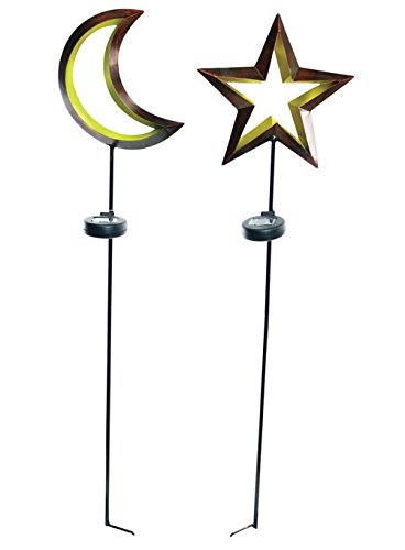Alpine Zen282a Solar Powered Moon And Star Garden Stake, 40'' H (Pack Of 9)