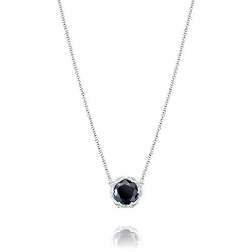 Tacori SN22419 Classic Rock Sterling Silver Black Onyx Bold Crescent Station Necklace, 17