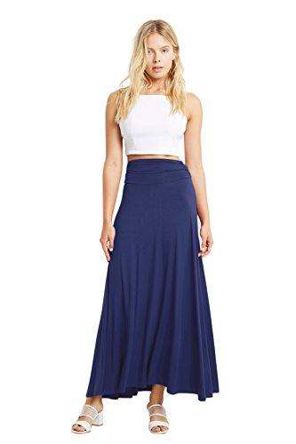 Long Skirt Unlined Skirt (Women Rayon Maxi Ruched High Waist Comfy Long Skirt Navy L)
