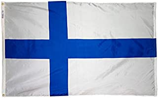 product image for Annin Flagmakers Model 192620 Finland Flag Nylon SolarGuard NYL-Glo, 5x8 ft, 100% Made in USA to Official United Nations Design Specifications