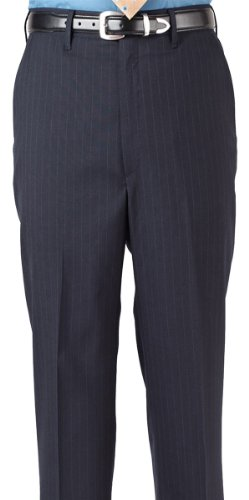 [Edwards Garment Men's Flat Front Pinstripe Dress Pant, NAVY, 50 31] (Navy Pinstripe Dress)