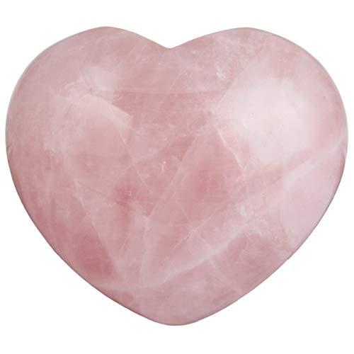 Loveliome 1 Pcs Natural Rose Quartz Heart Love Palm Pocket Stone Healing Chakra Worry Stone(1.8 Inch)