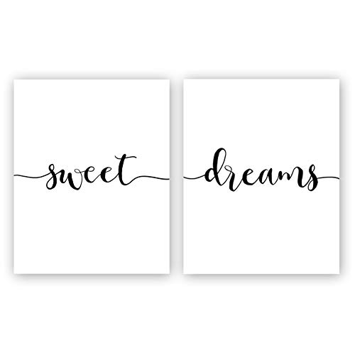 Sweet Print Dreams (Inspirational Typography Art Print Painting, Sweet Dreams Quote Cardstock Art Poster Kids Bedroom Wall Art Decor (Set of 2, 8'' x 10'',Unframed))