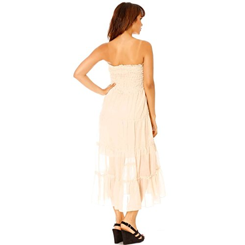 Miss Wear Line - Robe bustier beige longue à motif fleur