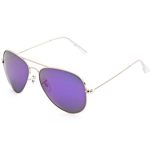 Vintage Retro Aviator Mirror Lens Sunglasses Purple - 2