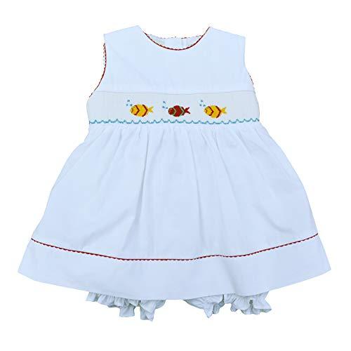 Sleeveless Girls White Beautiful - Baby Girl White Sleeveless Dress w/Bloomer - Hand Smocked Colorful Fish, 6M (Newborn)
