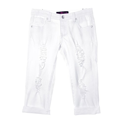 Girls Denim Capri Pants (Lavo Girls Super Soft Stretch Fashion Capri Jeans With Rips tears & Whiskers White Denim Size 4)