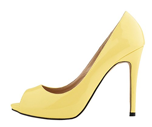 Women's Fashion Sexy Shallow Mouth Open Toe Slip On High Heeled Pumps Dress Shoes Yellow Patent PU