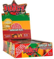 JUICY JAY'S FLAT JAMAICAN RUM 32 LEAVES/BOOK 24 BOOKS with Free BakeBros Silicone Container and Sticker Assorted Colors Platinum Rum