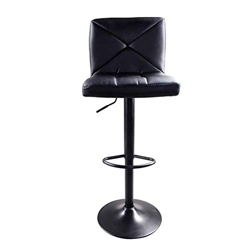 GOTOTOP 2Pcs Bar Stool PU Leather Crossover Design Adjustable High Type Without Armrest 360° Swivel Bar Stool Chair Computer Black Chair Bar Stool