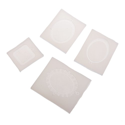 Cameo Moulds - Baoblaze Handmade Jewelry Casting Mold Cabochon Cameo Setting Designs Mould Silicon Mould Oval Square Bezel Trays Mold For Resin Jewelry Making DIY Craft Mold Tool
