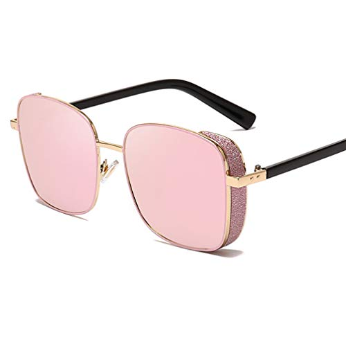 (YHgiway Square Steampunk Sunglasses for Women&Men, Shiny Metal Frame Side Shield Shades Sun Glasses Mirrored Lens - Unisex Vintage Eyewear UV400 Protection YH7271,PinkLens)