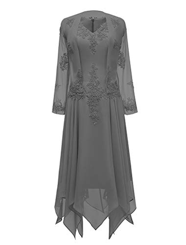tutu.vivi V-Neck Chiffon Tea Length Mother of The Bride Dress Long Sleeves Lace Formal Evening Gowns with Jacket Grey Size22W