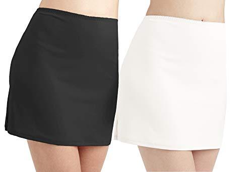 ANNY Women's Everyday Half Slips2Pack-Black White Size M -