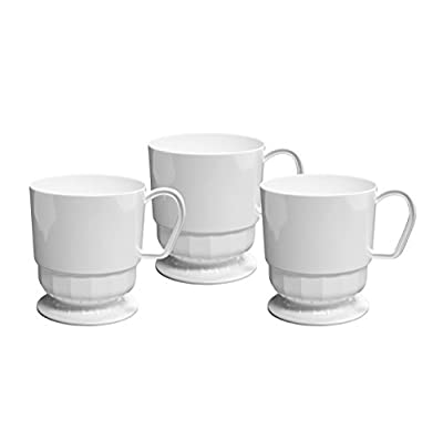 Party Essentials Deluxe/Elegance Quality Plastic 8-Ounce Coffee Cups, White, 10 Count