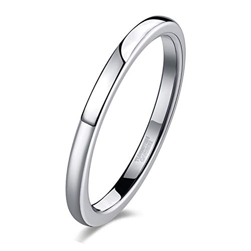 2mm Wedding Band for Women Silver Tungsten Carbide Ring Slim Plain Dome Style Comfort Fit Size 5.5 (Platinum Wedding Band 2mm)