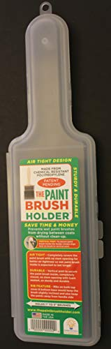 Paint Brush Holder Cover Plastic to Store 1/2 to 3 Inch Wet Brushes for More than 30 Days from Design Innovative Products LLC, Shark Tank Likwid Concepts Competition, Offers Air Tight Seal (1 Pack) ()