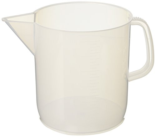 Plastic Pitcher Jug - Eisco Labs 3 Liter Polypropylene Beaker with Handle and Spout, 100ml Graduations