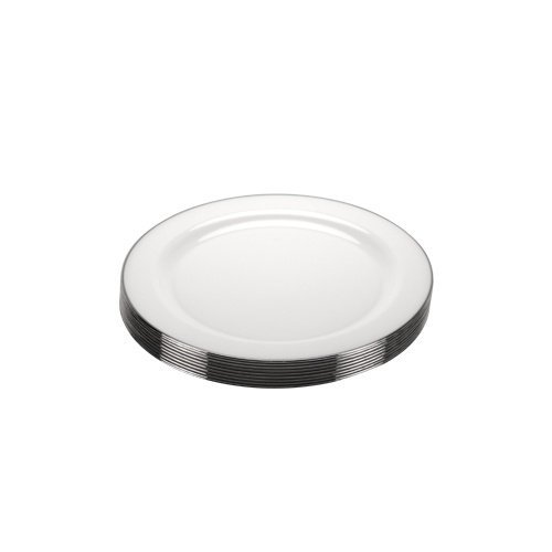 Premium Quality Heavyweight Plastic Plates China Like. Wedding and Party Dinnerware PlasticPlates 6.25 inch, White/Pearl with Silver Edge , 10-Count (China Dinnerware Wholesale)