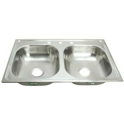 PROPLUS GIDDS-2474253 3-Hole Double Bowl Kitchen Sink For Mobile Homes, 24-Gauge, Stainless Steel, 33 x 19 x 6 In. - 2474253, by ProPlus